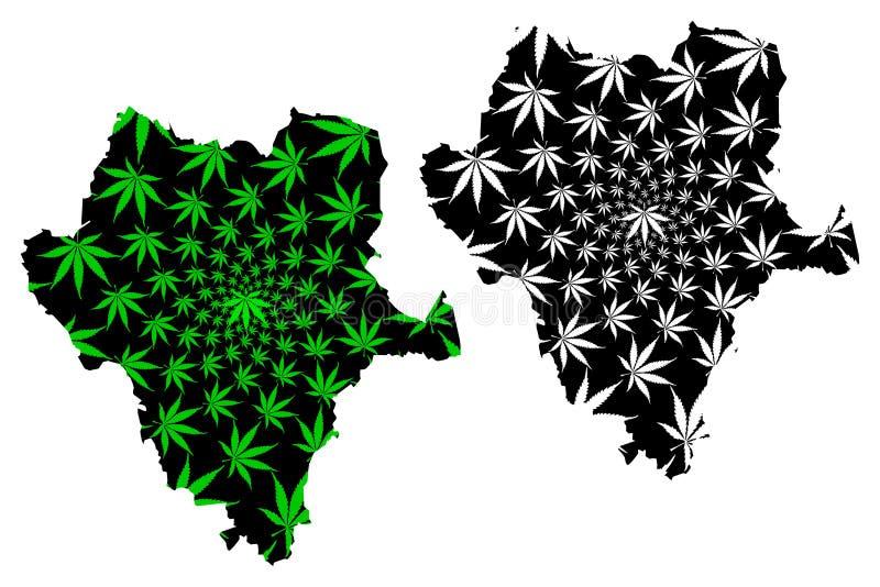 Durango United Mexican States, México, mapa de la república federal es verde diseñado de la hoja del cáñamo y estado negro, libre libre illustration