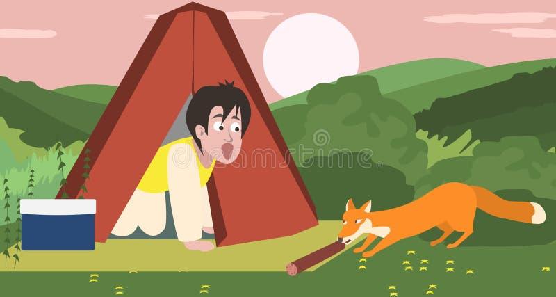 Durante a noite acampando, raposa que rouba o alimento ilustração royalty free