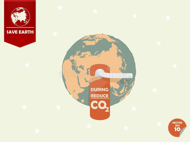 Durante riduca l'anidride carbonica o la CO2 illustrazione di stock