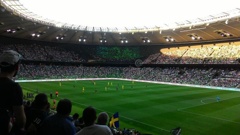 Durante um jogo de futebol estádio krasnodar fotografia de stock