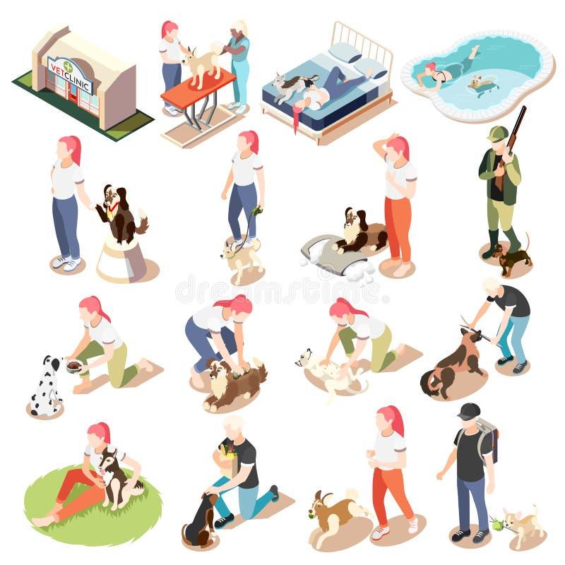 Durata ordinaria dell'uomo e del suo insieme isometrico dell'icona del cane royalty illustrazione gratis