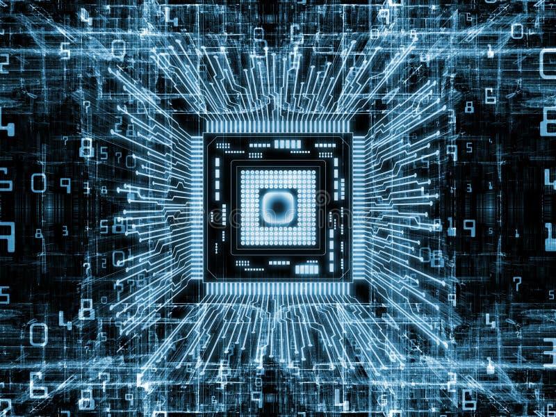 Durata virtuale del CPU del computer illustrazione vettoriale