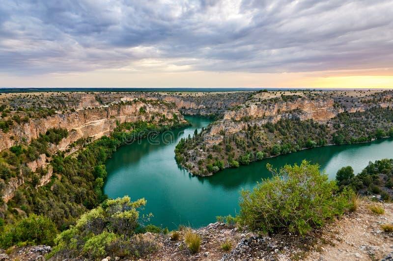 Duraton kanjon i Segovia, Spanien royaltyfri bild