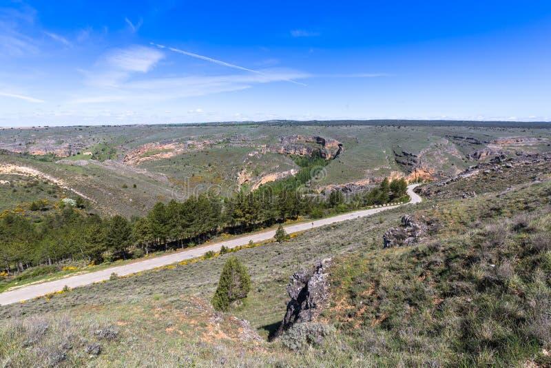 Duraton kanjon och Sepulveda segovia Castilla Leon spain eur arkivfoton
