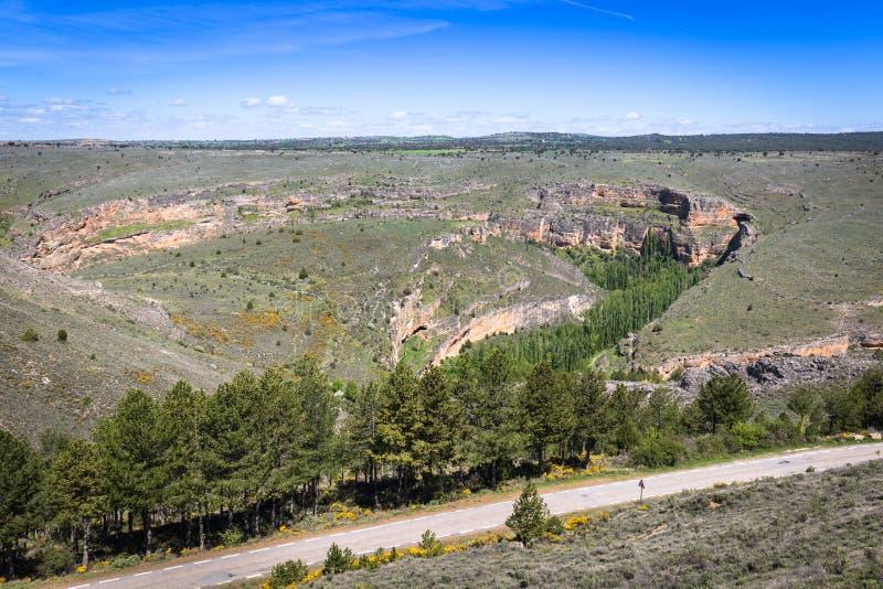 Duraton kanjon och Sepulveda segovia Castilla Leon spain eur royaltyfri fotografi