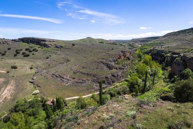 Duraton kanjon och Sepulveda segovia Castilla Leon spain eur arkivbilder