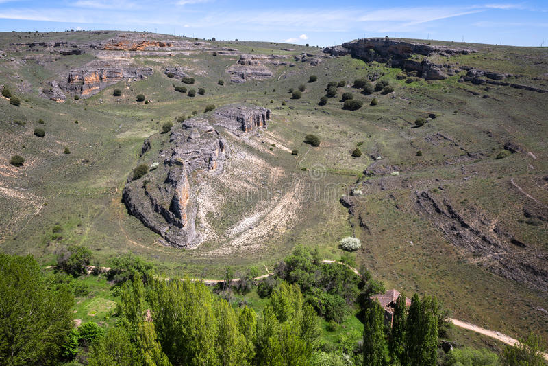 Duraton kanjon och Sepulveda segovia Castilla Leon spain eur royaltyfri bild