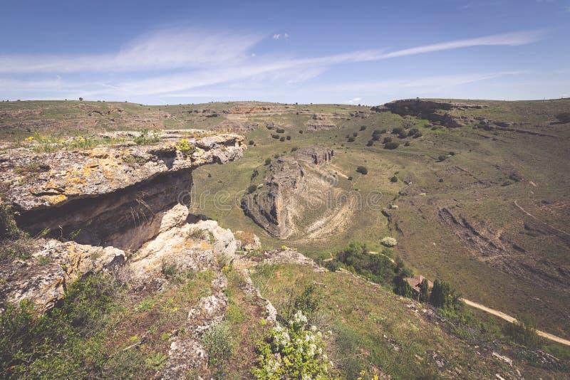 Duraton kanjon och Sepulveda segovia Castilla Leon spain eur arkivfoto