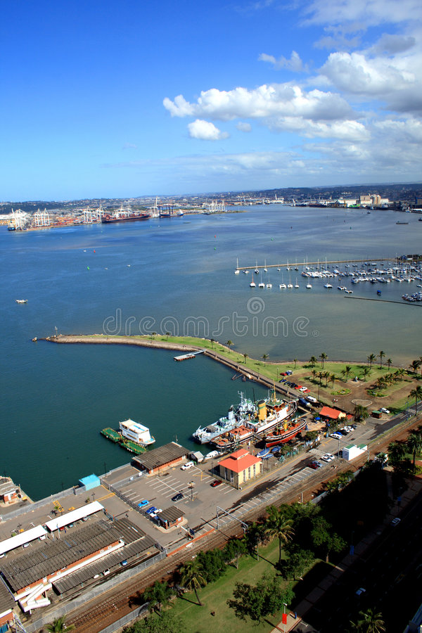 Durban bay. Overhead view of Durban harbor and city, south africa with clouds over the city during daytime stock photography