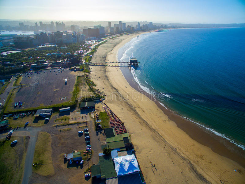 Durban Beachfront. Blue waters of the Indian ocean touch the shores of Durban beachfront royalty free stock photo