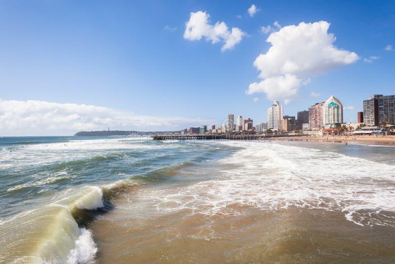 Durban Beachfront. Waves ocean, beaches, piers,coastline buildings hotels landscape royalty free stock photography