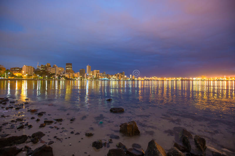 Durban Cityscape South Africa. Just before sunrise royalty free stock images