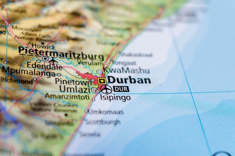 Durban en mapa fotos de archivo