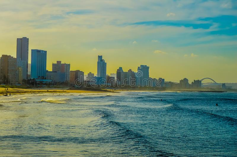 Durban golden mile beach with white sand and skyline South Africa royalty free stock photos