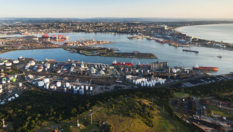 Durban Harbour aerial. An aerial image of Durban, South Africa on a clear morning royalty free stock images