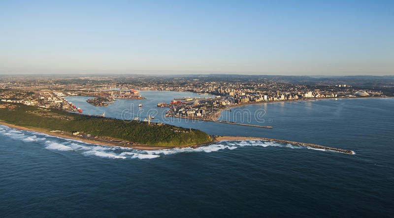 Durban Harbour and City aerial. An aerial image of Durban, South Africa on a clear morning stock images