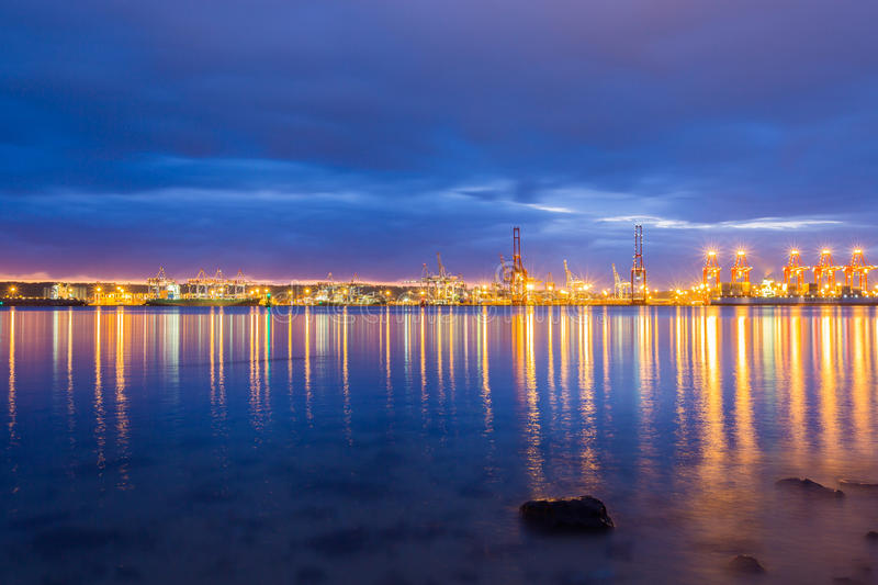 Durban Harbour South Africa. Just before sunrise royalty free stock image