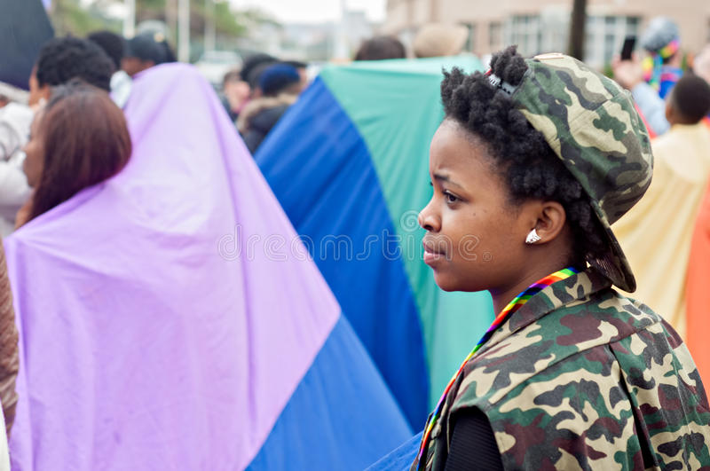 Durban Pride 2016. DURBAN, SOUTH AFRICA - JULY 23, 2016: Gay Pride celebration and parade at North Beach royalty free stock images