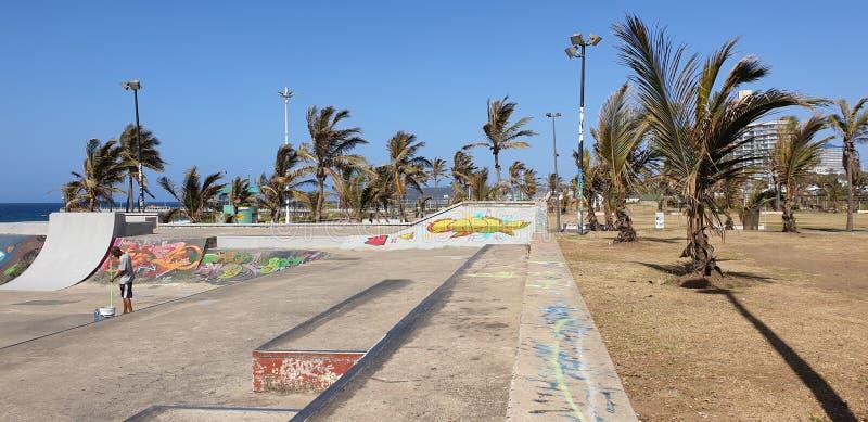 Durban Skatepark. Kzn, famous, trees, palms, beach, ocean, geass, grass, graffiti stock photo