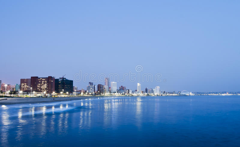 Durban South Africa. Durban City Skyline in the evening with the lights on stock images