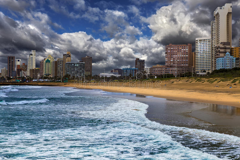 Durban, South Africa. Republic of South Africa. Durban, KwaZulu-Natal. The Golden Mile - Durban`s Beachfront Promenade and coastline royalty free stock photos