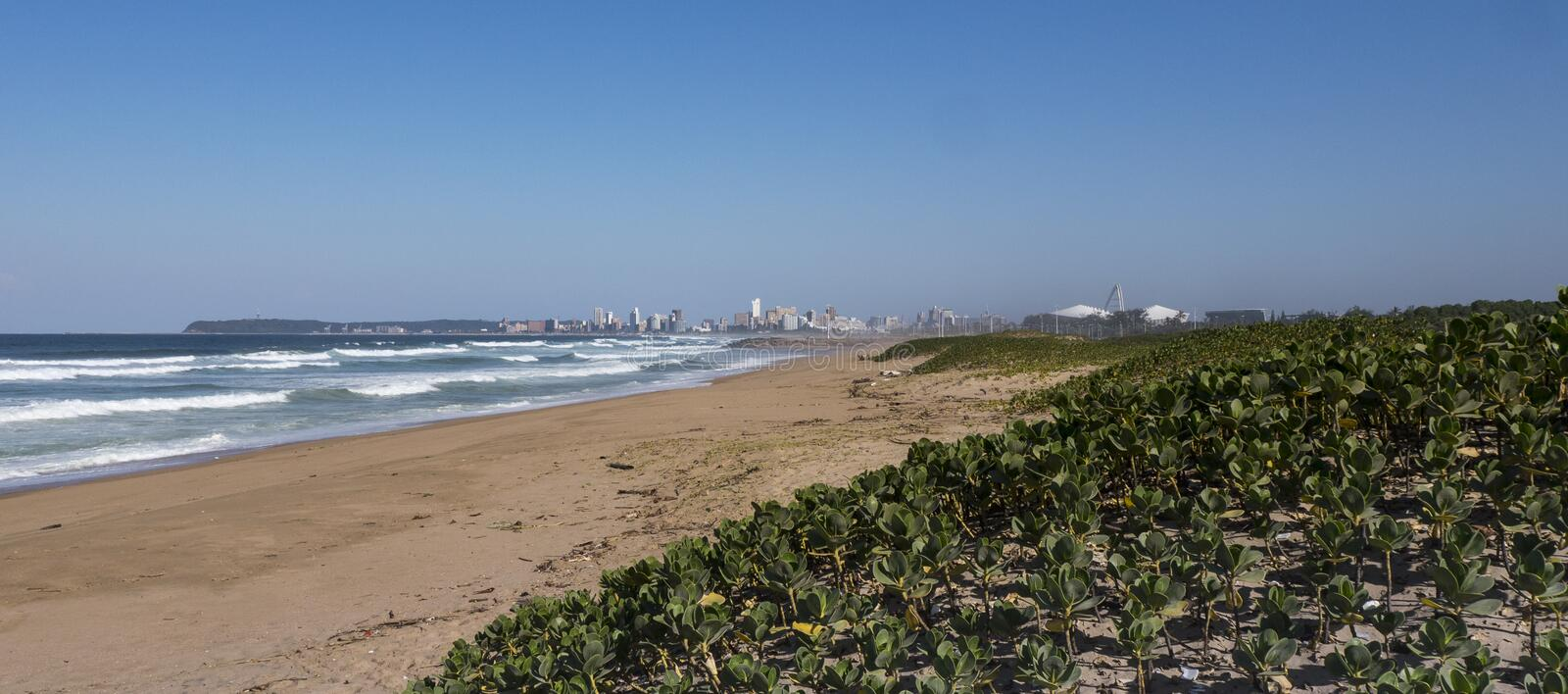 Durban, South Africa skyline from a northern beach stock image