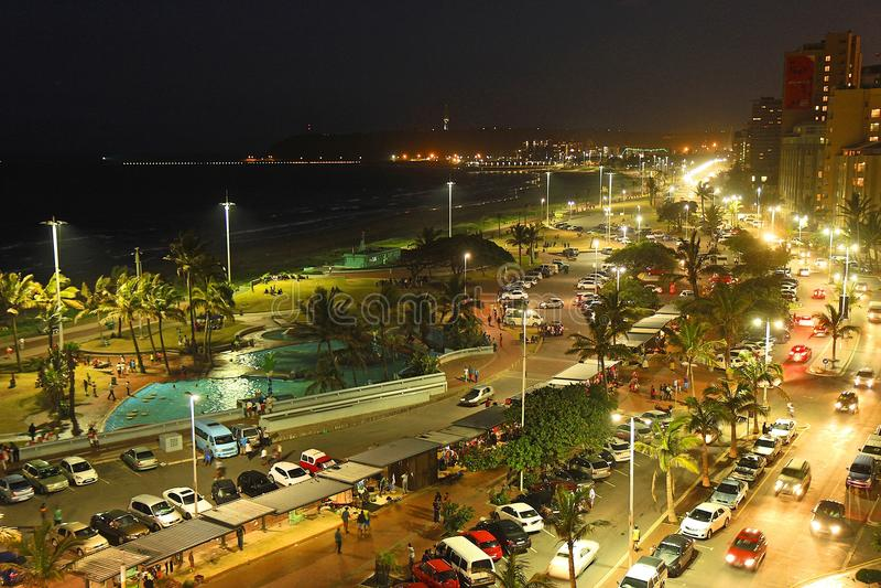 Durban-Strand nachts, Südafrika lizenzfreies stockfoto