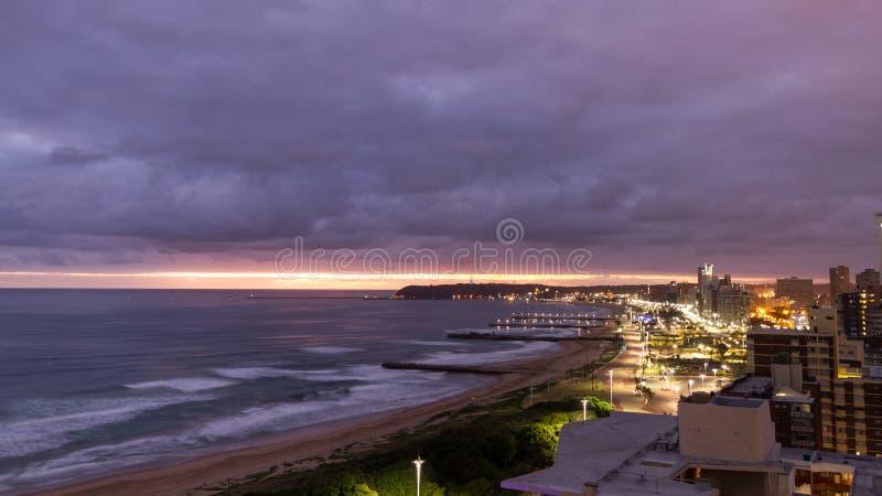 Durban Sunrise. Durban South Africa Sunrise Skyline Beachfront royalty free stock photography