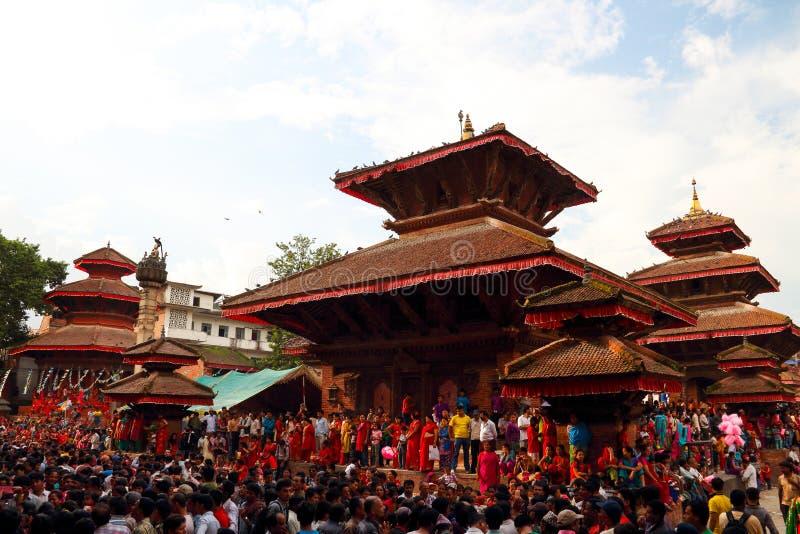 Durbar Square of Kathmandu in the festival royalty free stock image