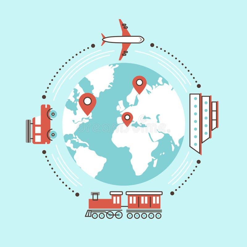 Durch unterschiedlichen Transport auf der ganzen Welt reisen vektor abbildung