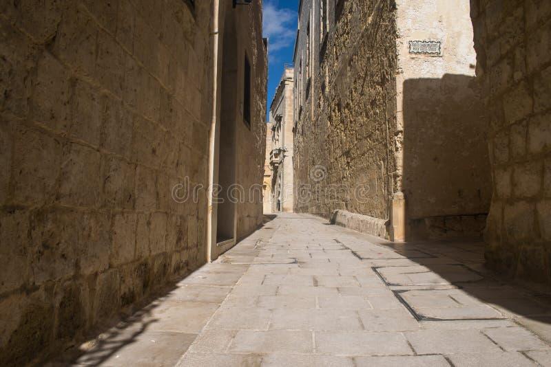 Durchaus Straße in Mdina stockfoto