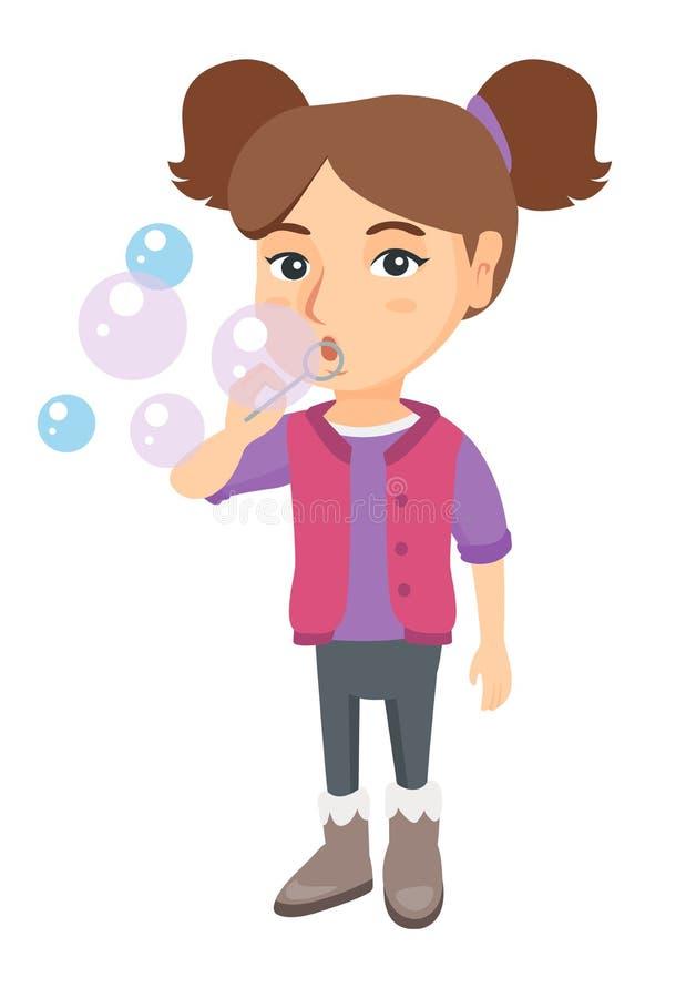 Durchbrennenseifenluftblasen des kleinen kaukasischen Mädchens stock abbildung