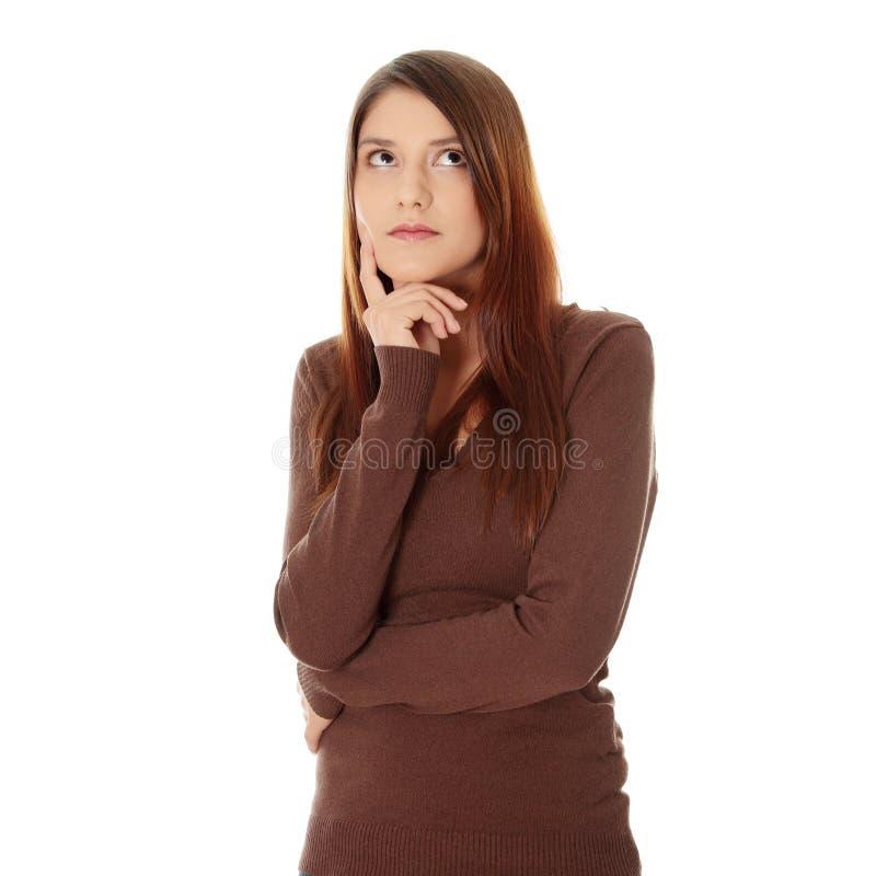 Durchdachte Frau lizenzfreie stockfotografie