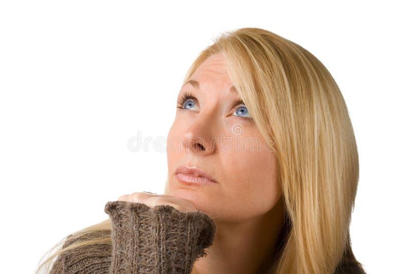 Durchdachte Frau lizenzfreies stockbild