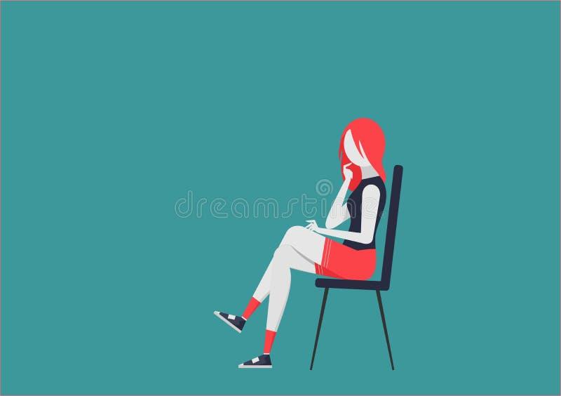 Durchdachte junge Frau auf dem Stuhl Charakter mit beweglichen Körperteilen vektor abbildung