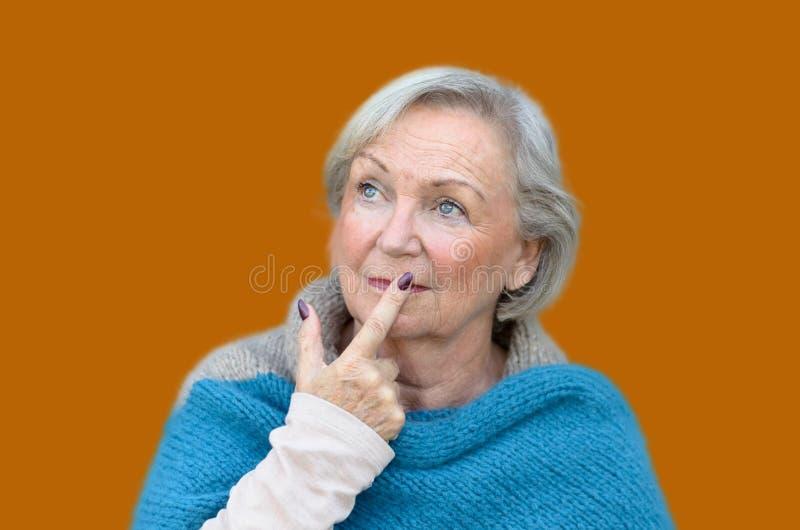 Durchdachte stilvolle ältere Frau lizenzfreie stockfotografie