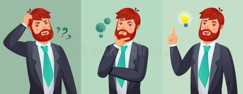 Durchdachter Mann Mann stellen Fragen, Zweifel oder verwirrt und fanden Frage-Antwort Denkende ernste Entscheidungskarikatur lizenzfreie abbildung