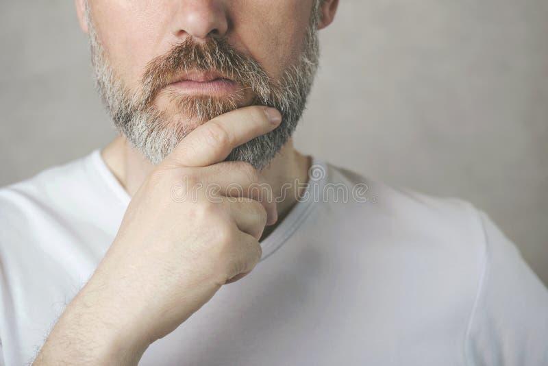 Durchdachtes reifes Mannportr?t lizenzfreies stockbild