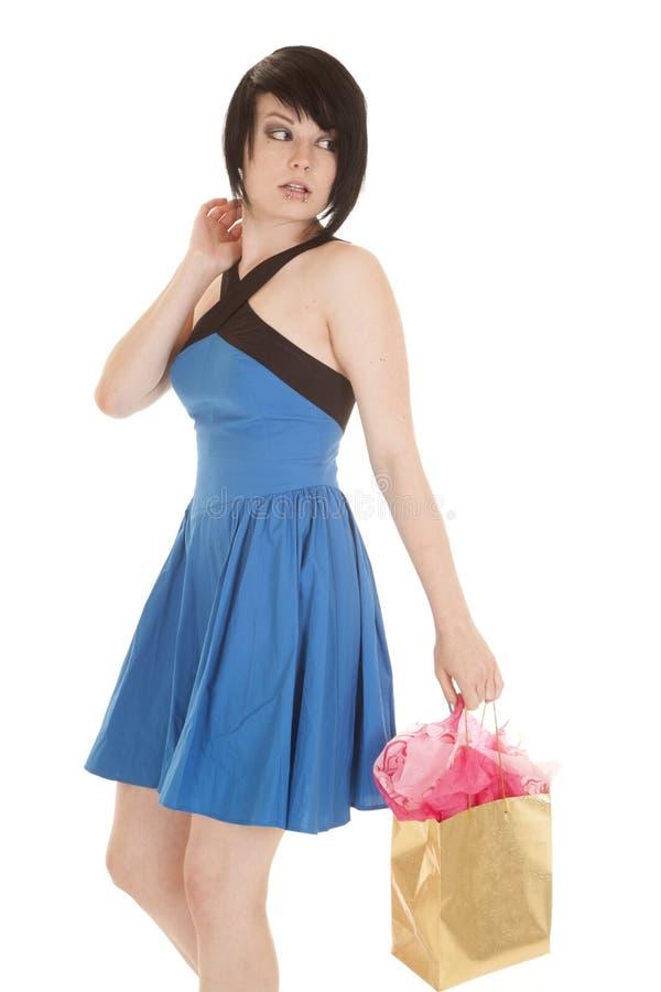Durchdringen-Taschenblick der Frau blauer Kleiderzurück lizenzfreies stockfoto