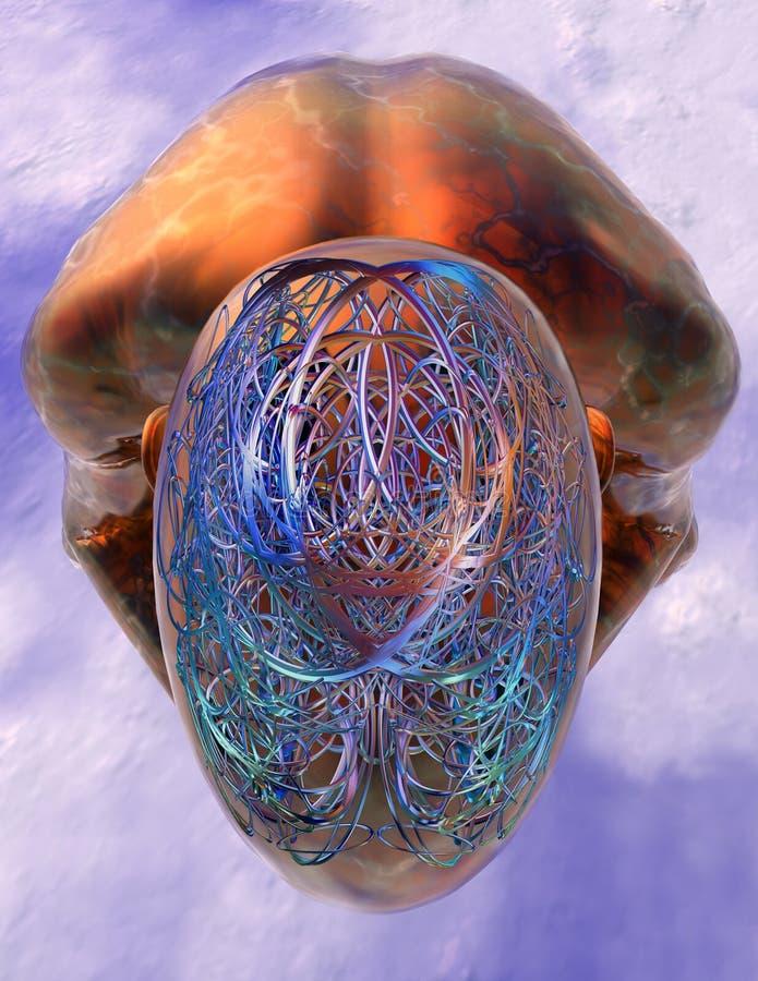 Durcheinander oder Aufklärung - duckender Mann stock abbildung