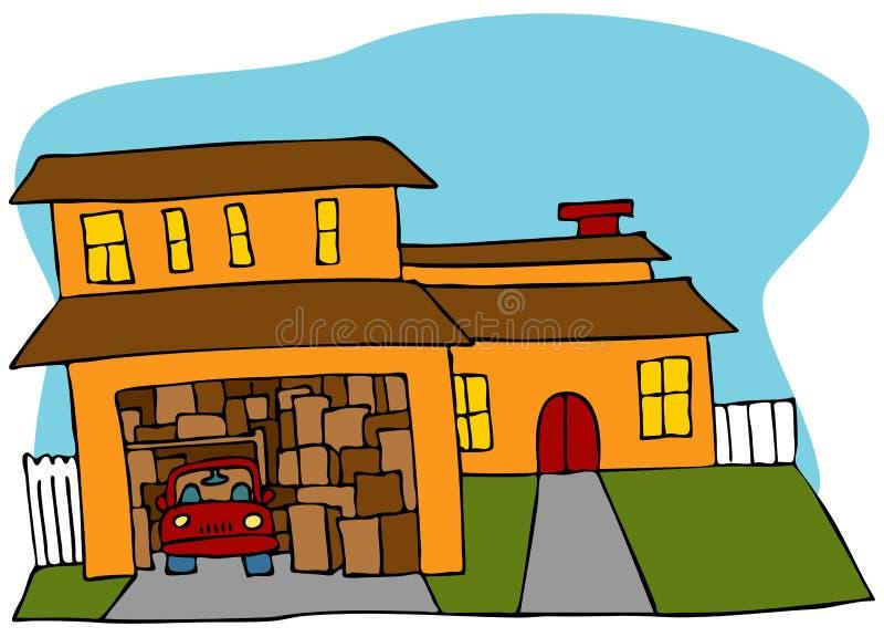Durcheinandergeworfene Garage stock abbildung