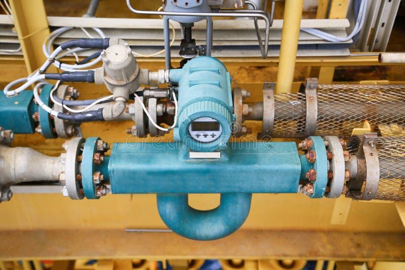 Durchflussgeber oder Flusswandlerausrüstungsfunktion und gesendete PLC-Logik zum Prozessor im Öl- und Gasproduktionsverfahren stockfoto