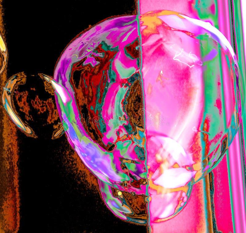 Durchgebrannte Seifenblasen schwimmen in einer Luft lizenzfreies stockfoto