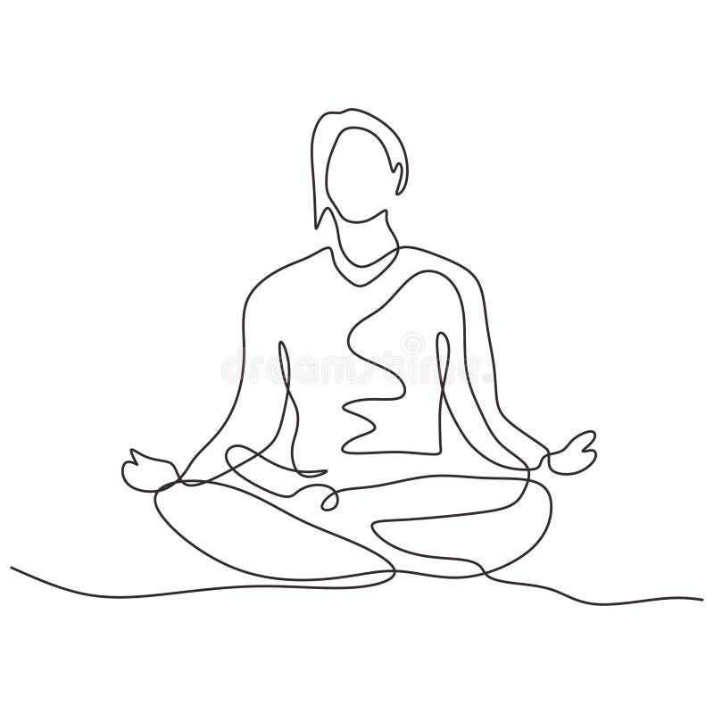 Durchlaufend eine Zeile Zeichnung der Person, die in Lotus-Position für Yoga-Übungen oder Meditation sitzt Minimalismus der Vecto lizenzfreie abbildung