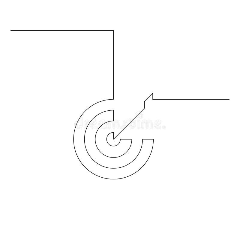 Durchlaufender Pfeil mit einer Linie in der Mitte des Ziels Zielerreichungskonzept, Genauigkeit Illustration lizenzfreie abbildung