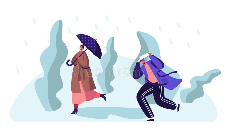 Durchnäßte Passant-Leute, die gegen Wind und Regen, Frau mit Regenschirm, Mann-Bedeckungs-Kopf vom kalten Wasser gießt aus Himmel vektor abbildung