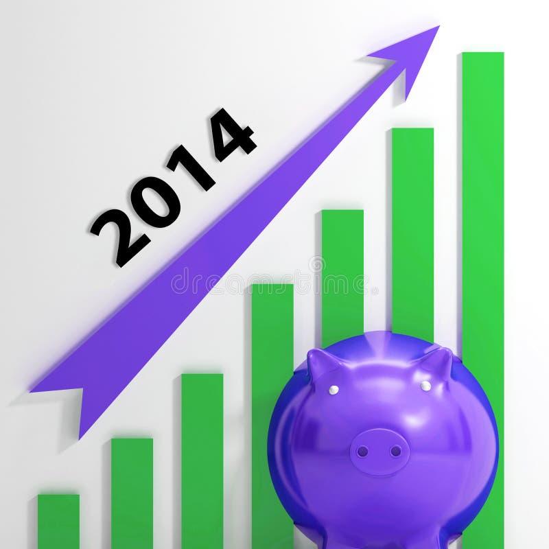 Durchschnitte des Diagramm-2014, die Verkäufe und Einkommen wachsen lizenzfreie abbildung