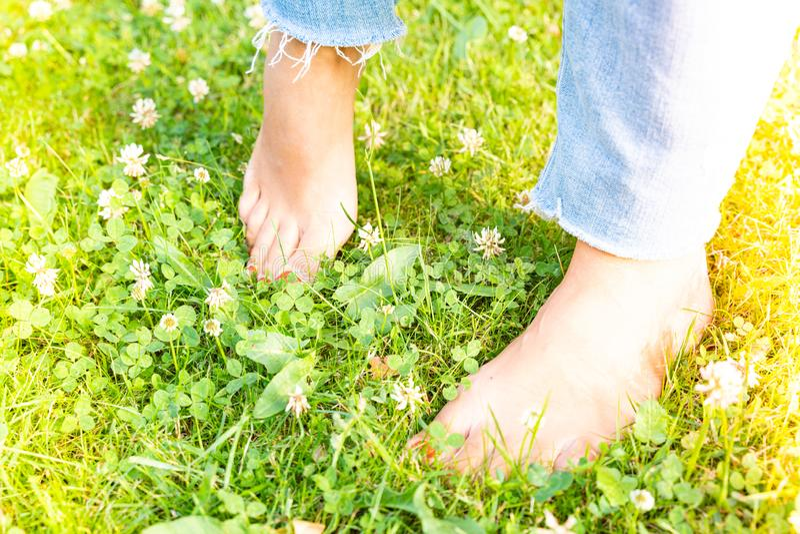 Durcissant des pieds nu-pieds marchant sur différentes surfaces et températures selon la philosophie de Sebastian Kneipp photos libres de droits