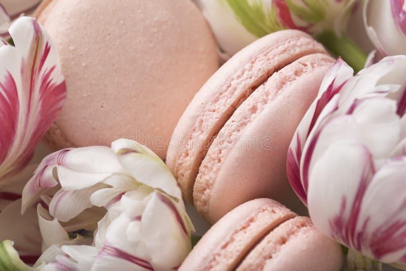 Durcissez le macaron ou le macaron et les tulipes, couleurs en pastel, foyer mou image stock