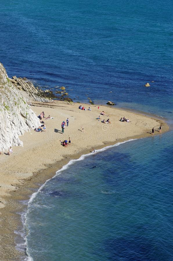 Durdle Door, one of the Jurassic Coast`s most iconic landscapes during summer season stock image